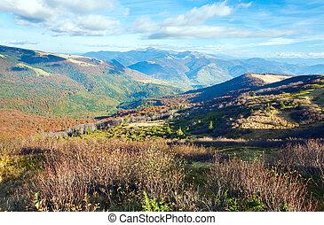 otoño, montañas, descubierto, rígido, árboles