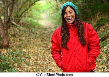 otoño, mujer, bosque