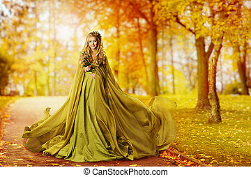 otoño, mujer, modelo, al aire libre, retrato, niña, en, otoñal, vestido, ambulante, en, amarillo, permisos de otoño, parque