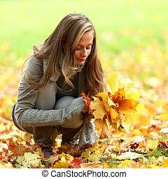 otoño, mujer