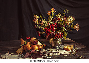 otoño, naturaleza muerta, flores, manzanas