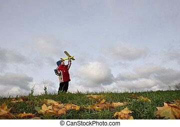 otoño, niño, con, avión