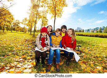 otoño, niños, el bosquejar, belleza
