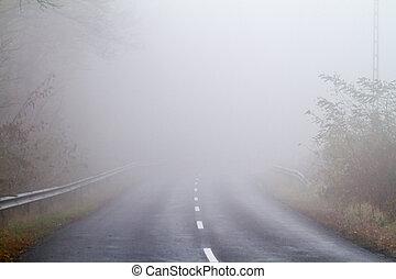 otoño, niebla, camino, asfalto