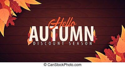 otoño, o, compras, banner., promo, cartel, marco, venta, ...