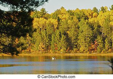 otoño, ocaso, en, el, francés, río