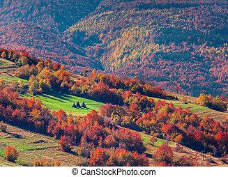 otoño, paisaje de montaña, colorido, aldea