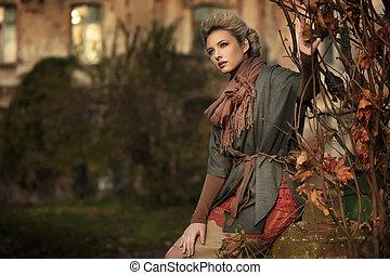 otoño, paisaje, y, rubio, belleza