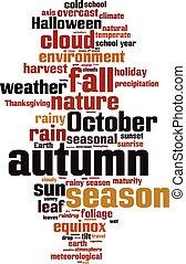 otoño, palabra, nube