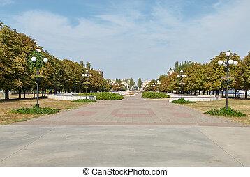 otoño, parque, con, bancos, y, vendimia, linternas