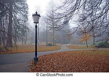 otoño, parque, con, linternas