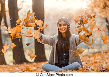 otoño, parque, estudiante