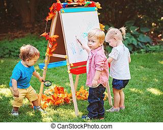 otoño, parque, tres, niños