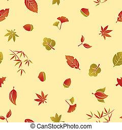 otoño, patrón, seamless, follaje