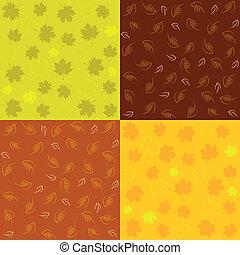 otoño, patrones, conjunto, seamless