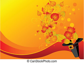 otoño, pilgrim%u2019s, hojas, sombrero