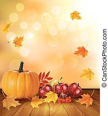 otoño, plano de fondo, con, fruta fresca, y, leaves., sano, comida., vector, ilustración