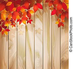 otoño, plano de fondo, con, hojas, en, un, textura de madera