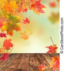 otoño, plano de fondo, con, tablas de madera