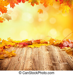 otoño, plano de fondo, con, vacío, tablas de madera