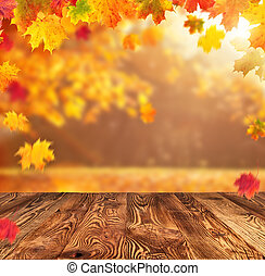 otoño, plano de fondo, con, vacío, tablones