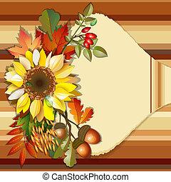 otoño, plano de fondo, girasol