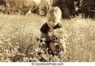 otoño, poco, flores, niña