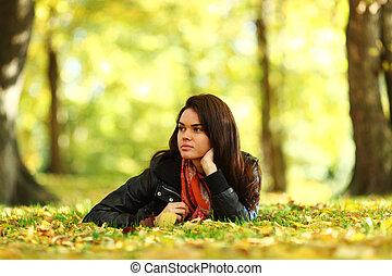 otoño,  portret, mujer, hoja