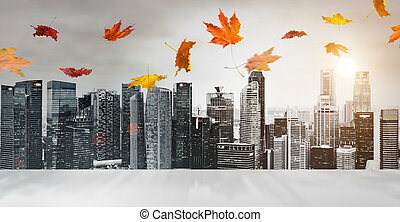 otoño, rascacielos, plano de fondo