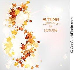 otoño, remolino, de, hojas