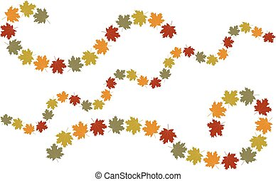 otoño, remolino, hojas, elementos