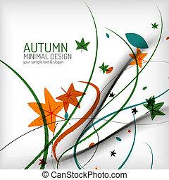 otoño, remolino, líneas, y, hojas, blanco