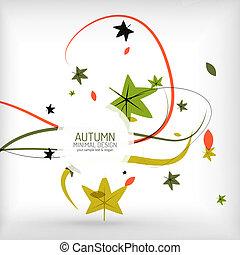 otoño, remolino, planta, y, hojas, mínimo