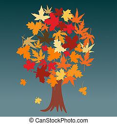 otoño, resumen, árbol, hojas