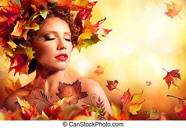 otoño, retrato de mujer