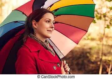 otoño, retrato, mujer