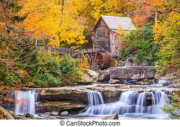 otoño, riachuelo, claro, gristmill