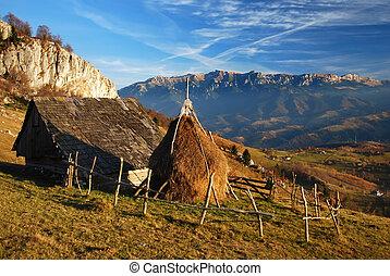 otoño, rumania, montañas., paisaje