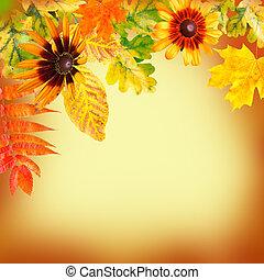 otoño sale, en, un, amarillo, backgroun