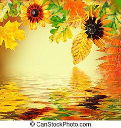 otoño sale, en, un, fondo amarillo