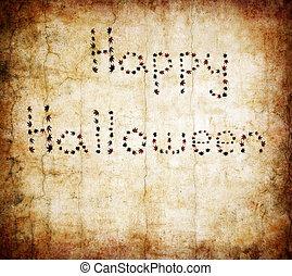 otoño sale, halloween, escrito, feliz