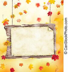 otoño sale, plano de fondo, con, cartel
