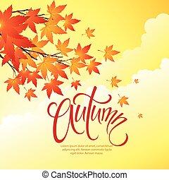 otoño sale, plano de fondo, de, sky., vector, ilustración