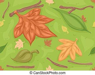 otoño, seco, hojas, seamless