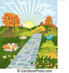 otoño, soleado, parque, día
