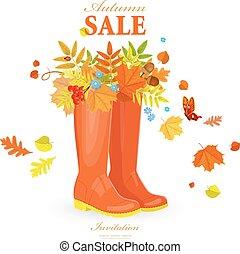 otoño, tarjeta de felicitación, con, colorido, permisos de otoño, en, cargadores de goma