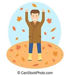otoño, tema, illustrtion