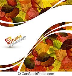 otoño, vector, colorido, plano de fondo
