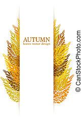 otoño, vector, hojas, plano de fondo