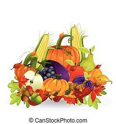 otoño, vegetal, y, fruits